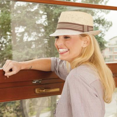 Dámský papírový klobouk se stuhou béžový 0d38a06359