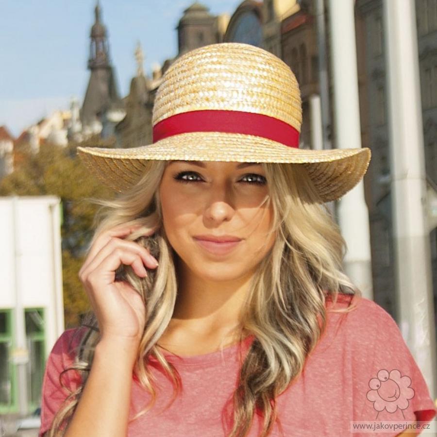 Karpet dámský slaměný klobouk zdobený rypsovou stuhou Jako v peřince 2ea138d674