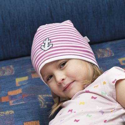 Hugo dívčí čepice bavlna s kotvou růžová
