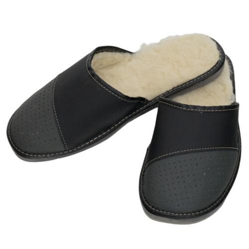 Pánské domácí zateplené kožené pantofle cf6d296c9f