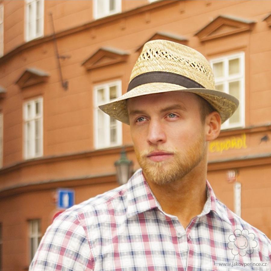 42310f7b9e2 Pánský slaměný klobouk malá krempa s rypsou 60 Jako v peřince